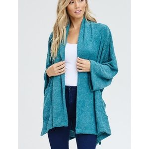 KSC Sweaters - ADDIE Turquoise Terry Oversized Open Cardigan